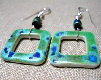 Square Green & Blue Spotted Porcelain Earrings