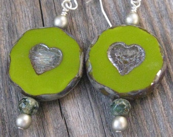 Lime Green Two Hearts Etched Earrings