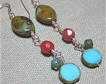 Rust and Turquoise Czech Glass Linear Earrings