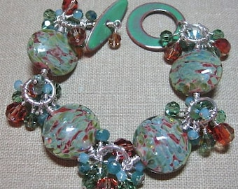 Greens & Browns Handmade Glass Bead with Matching Green Enamel Toggle Clasp - Seattle Cluster Station Bracelet - B121