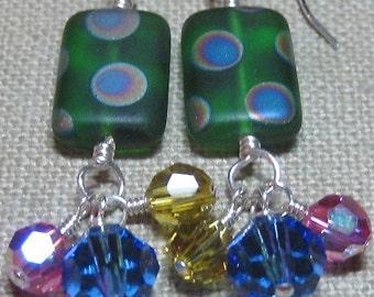 Green Rectangular Polka Dot Cluster Dangle Earrings