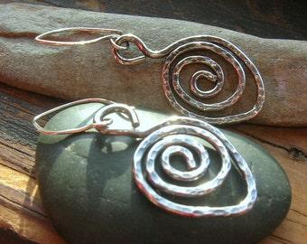 Hammered Sterling Silver Leaf Earrings