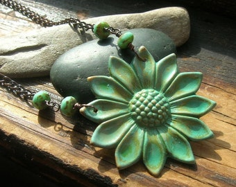 Sunflower in verdigris necklace