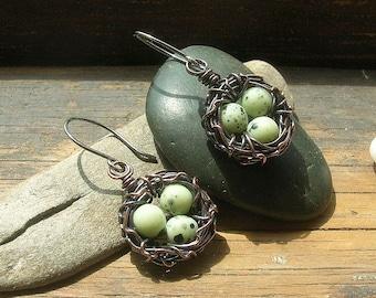 Bird nest earrings bird egg earrings Rustic Nest earrings speckled eggs copper nest earrings Mother's Day mother or grandmother
