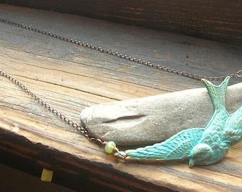Soaring Swallow in verdigris necklace