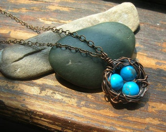 Bird nest necklace rustic Robins Nest necklace  copper nest necklace with dark blue eggs mothers day mother grandmother