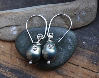 Large freshwater pearl earrings Wire wrapped earrings Pearl dangle earrings handmade ear wires Pearl drop earrings Sterling silver wrapped