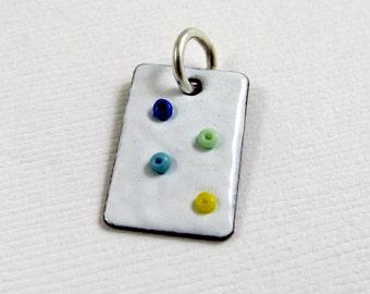 CS16 - Polka Dot Charm by NinaGibsonDesigns - Enameled Copper charm with Seed Beads Charm Pendant