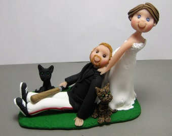 Items similar to Wedding toppers no hair groom polymer clay