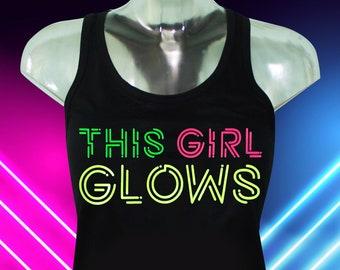 This Girl Glows, Women's Tank Top, Women's Racer Back Tank Top, Women's Glow Party, Glow Tank Top, Blacklight Tank Top, Women's Glow Tank