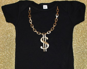 Gold Chain Onesie, Gold Chain Onepiece, Gold Chain Bodysuit, Dollar Symbol Onesie, Hip Hop Baby, Funny Baby Gift, Gold Foil, Hip Hop Kid
