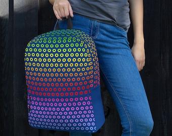 Phish Rainbow Donuts Backpack, Phish Rainbow Donut Bag, Phish Rainbow Donut Backpack, Phish Gift, Phish Bag, Phish Donut Backpack