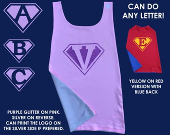 Super 'Letter' Cape, Personalized Cape, Any Letter, Custom Letter Cape, Superman Cape, Girls Superman Cape, Super Hero Cape, Girl Super Hero