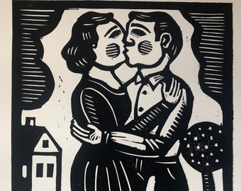 Lovers romantic linocut by Rick Beerhorst folk art