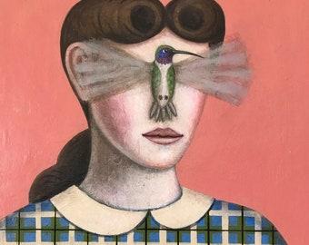 Girl with hummingbird surrealist folk art portrait original painting by Rick Beerhorst