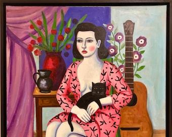 Surrealist framed portrait painting by Rick Beerhorst