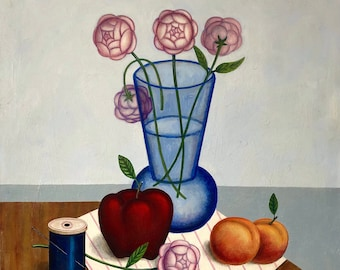 Surrealist still life with flowers original oil painting by Rick Beerhorst