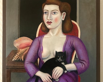 Rick Beerhorst folk art portrait painting woman with cat and shell