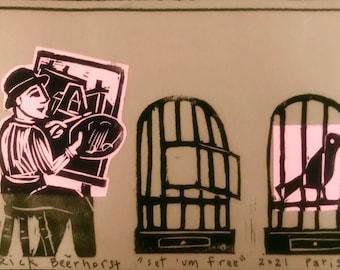 Original linocut self portrait with birdcage by Rick Beerhorst