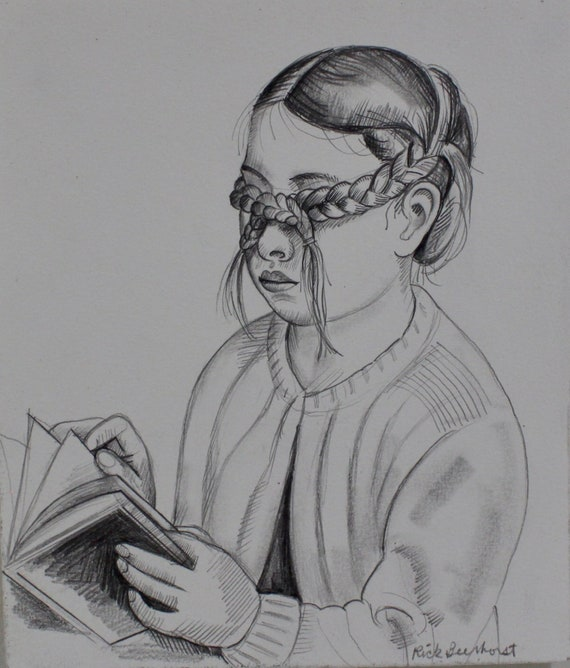 Girl With Braids Over Her Eyes Reading Her Book Drawing Black And White Wall Art By Studiobeerhorst