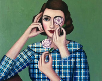Visionary art portrait of woman with a flower by Rick Beerhorst