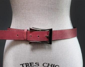 8b1dd1015 Vintage 90's Dusty Red Leather Belt w/ Modern Gunmetal Pinched Buckle, Dark  Dusty Rose, Geometric Simple Style, Unisex Men's Small