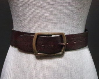 0d1e572e3 Vintage Dark Brown Wide Leather Belt w/ Oversized Antiqued Bronze Rectangle  Buckle, Statement Belt, Chunky, Women's Small Waist Cinching