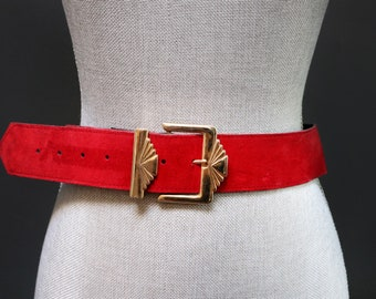 47b5fa7c998 Vintage Poppy Red Suede Belt w  Gold Art Deco Buckle