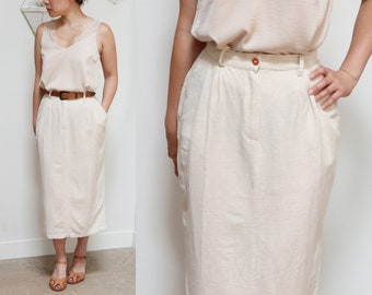 9f74134c5d Vintage 70s Cream Linen Longline Pencil Skirt, Classic Fitted Cut, Women's  Small Skirt, Simple Minimalist Style, Casual Ankle Length