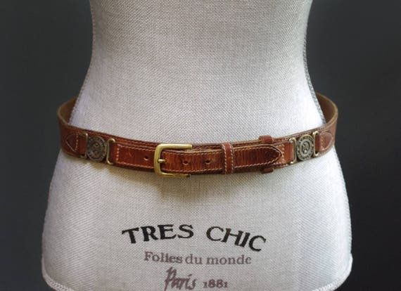 Boucle de ceinture en cuir marron Vintage Style militaire   Etsy b1d68cbf90c