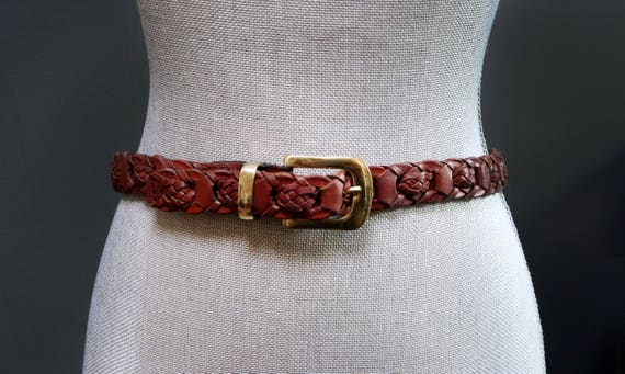 Vintage Brown Braided Leather Belt, Woven Ladder B