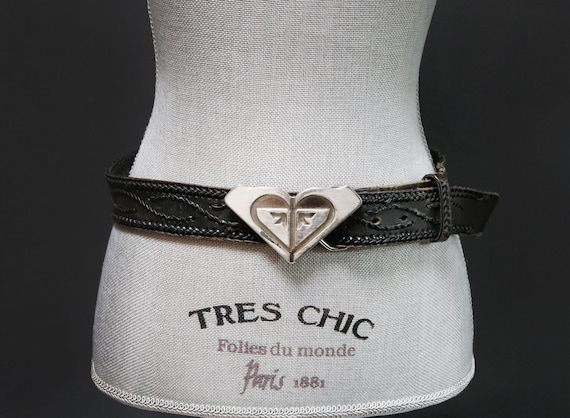 Y2K Black Leather Belt w Braided Top Stitch Detail /& Large Silver Logo Buckle Bohemian Festival Style Women/'s Medium Roxy Surfer