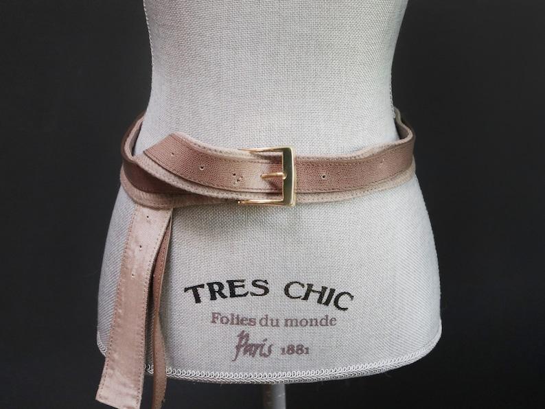 eff3bbae6 Vintage Ash Brown Fabric Waist Belt w/ Reptile Leather Stripe   Etsy