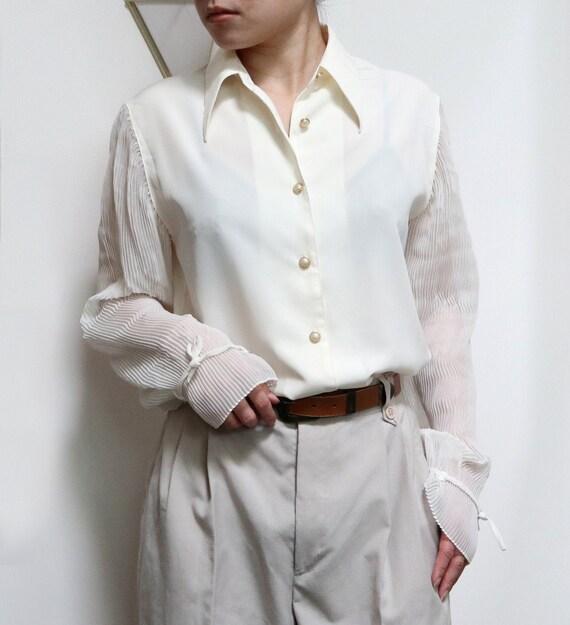 asymmetric hem minimalist blouse 90s cream sheer long blouse oversized minimal off white blouse see through ivory tunic blouse