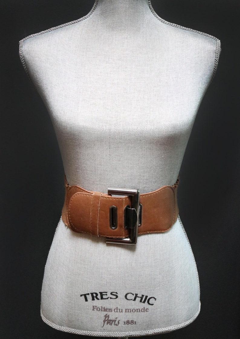 1a7b40a8c Vintage Brown Wide Waist Belt w/ Oversized Gunmetal Rectangle   Etsy
