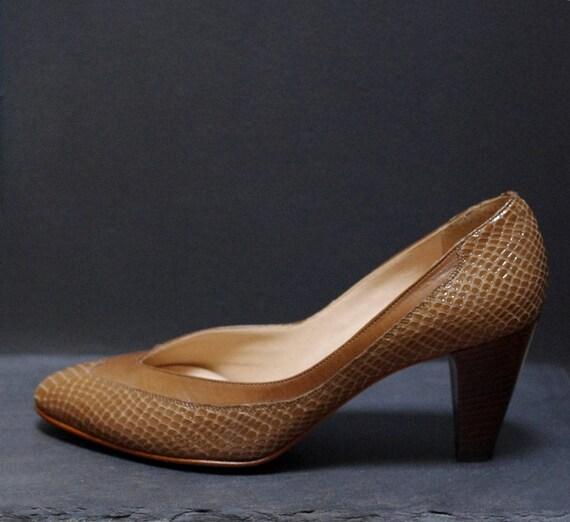 Talons en cuir Vintage beige & & & marron en peau de serpent, des femmes taille 6, chaussures en cuir kaki, escarpins en cuir véritable, milieu talon aile pointe de bout pointu talons | Design Attrayant  920669