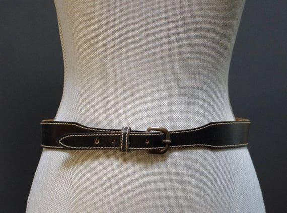 Vintage Black Leather Belt, Contrast Stitch Black