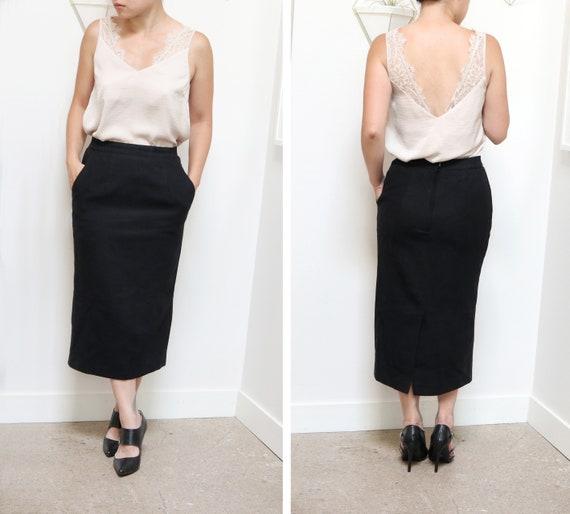 Vintage 80s Long Black Wool Skirt, Long Black Skir