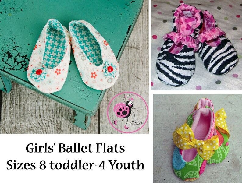 51851508a0ecd Girls' Ballet Flat Sewing Pattern PDF. Sizes Toddler/Girl 8-13 and Youth 1-4