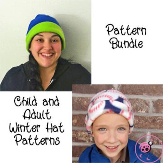 Winter Fleece Hat Sewing Pattern PDF. Child Sizes 0-10 years
