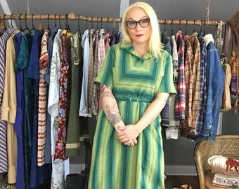 Green Striped '50s Shirtdress - Vintage Retro Woman's Clothing Large - Plus Size '50s Fashion