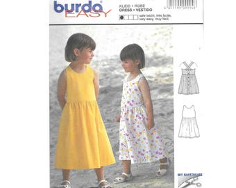 Toddler Girls Open Back Sleeveless Tea Length Sun Dress 18M to 8 Sewing Pattern Burda 9994