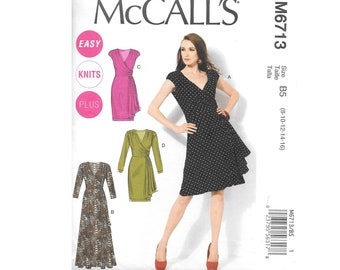 Misses Jersey Faux Wrap Dress Sleeveless Long Sleeve Sz 8 to 16 Sewing Pattern McCalls M6713