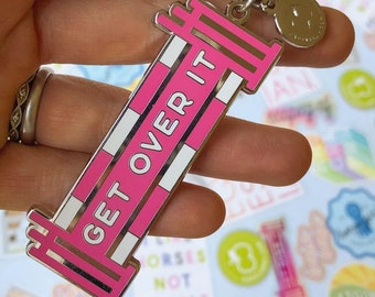 GET OVER IT Keychain   Equestrian Keychain - Horse Lover Gift - Equestrian Gift - Show Jumping - Hunter Jumper - Equitation