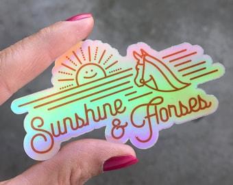 Sunshine & Horses Holographic Sticker   Horse Sticker - Horse Stickers - Equestrian Sticker - Equestrian Stickers - Horse Decal