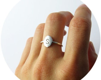 Signet Ring   Personalised Initial Ring in Solid Sterling Silver, Solid 9ct Yellow Gold or Solid 9ct Rose Gold Handcrafted by Ginny Reynders