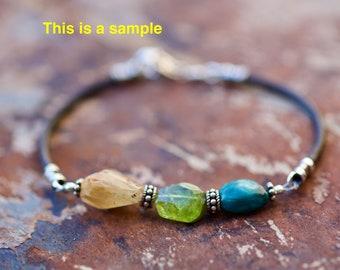 AstroStones Gemstone, Sterling Silver, and Leather Bracelet
