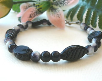 Black And Silver Glass Beaded Bracelet