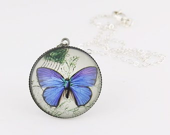 Blue Butterfly Necklace, Fine Art Print, Picture Jewelry, Nature Necklace