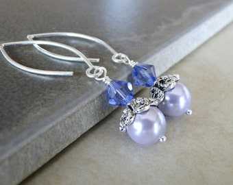 Lilac Glass pearlised Earrings Topped With A Sparkling Purple Swarovski Crystal